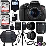 Canon EOS Rebel T6i SLR Camera 18-55mm f/3.5-5.6 Lens Deluxe Bundle with 58mm 2x Lens, Wide Angle Lens, Tripod, Flash, UV Kit and 32GB SanDisk Memory Card