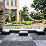 U-max 7 Piece 3-14 Pieces Patio PE Rattan Wicker Sofa Sectional Furniture Set (BK-9 Pieces)