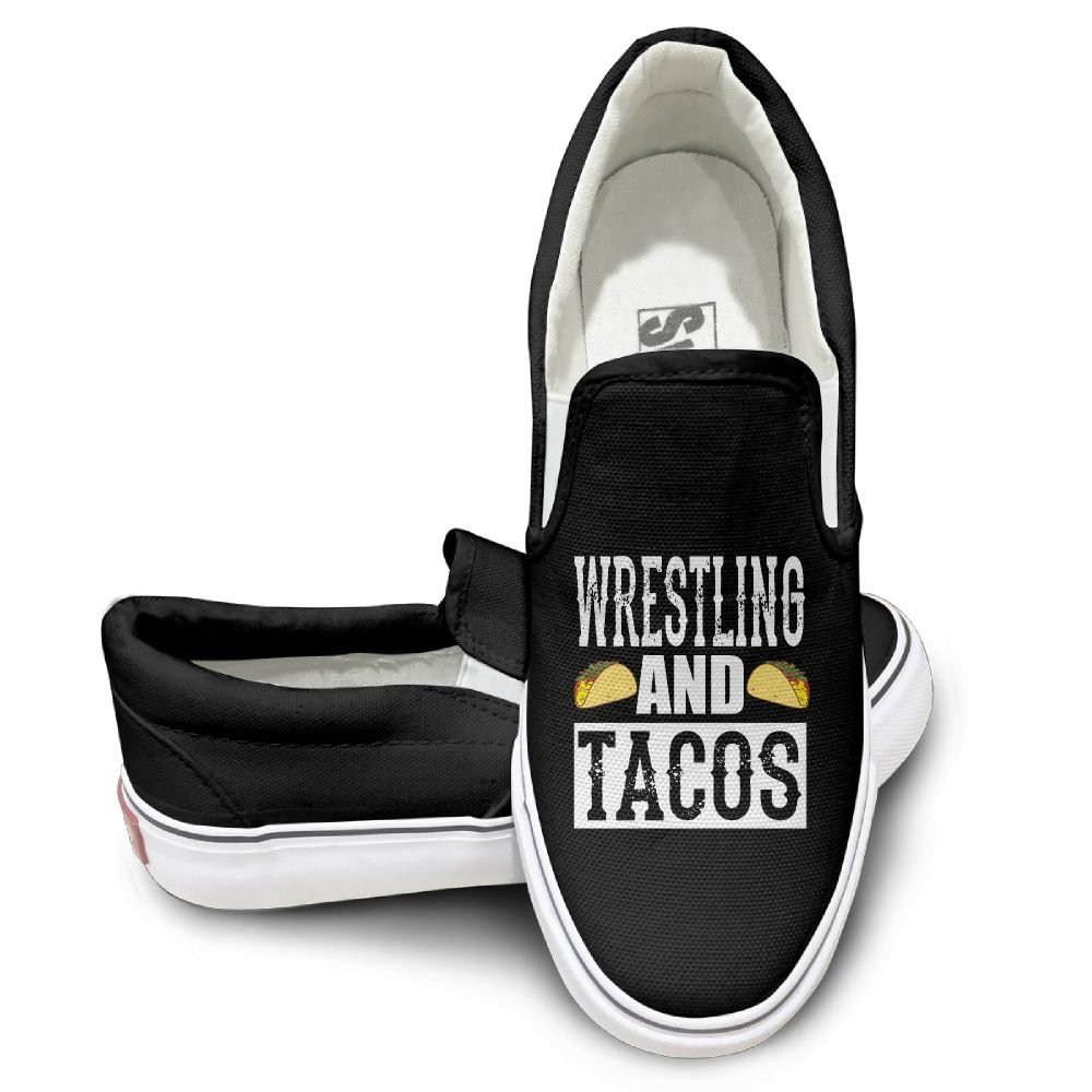 SH-rong Wrestling And Tacos Unisex Canvas Sneakers Shoes Size 43 Black