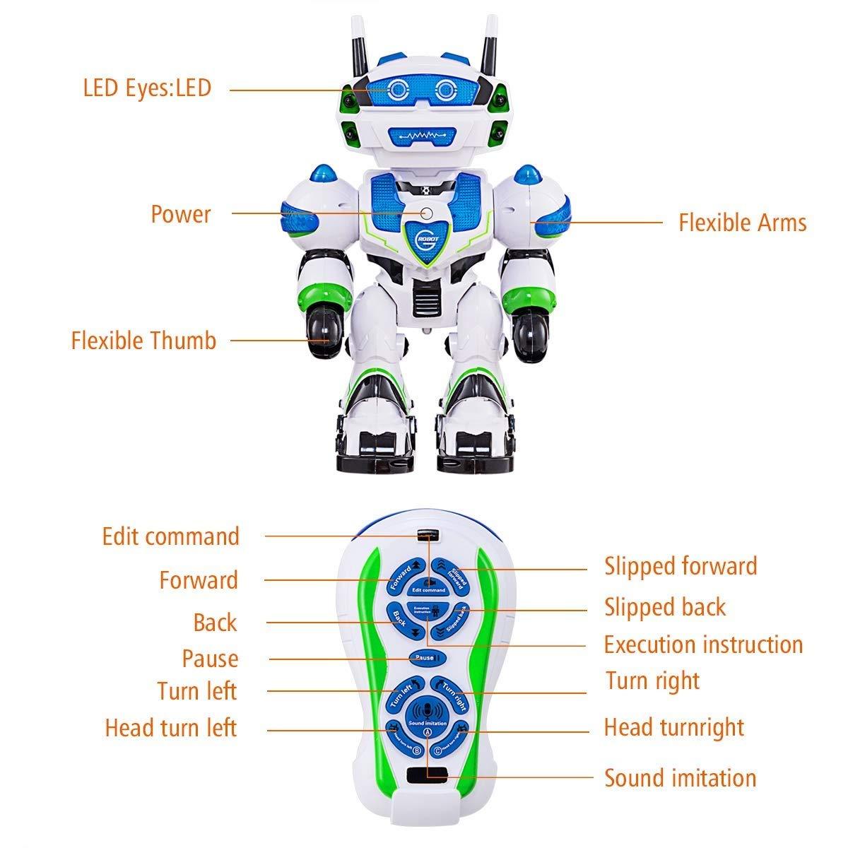 Wesxm Upgrade USB Wiederaufladbare Fernbedienung Roboter Sichere ABS Materialien Singen Tanzroboter mit Lichteffekt Perfekte Kinder Spielzeug Programmierbare Sprechende Fernbedienung Roboter