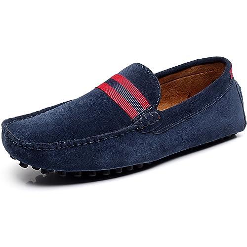 Jamron Hombres Elegante Mocasines de Cinta Planos Cuero Genuino de Gamuza Mocasines Comodidad Zapatillas Alfombra Zapatos: Amazon.es: Zapatos y complementos