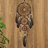 Ricdecor Dream catcher handmade traditional white feather dream catcher wall hanging car hanging decoration ornament (Brown 3Circles)