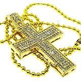 Pendentif croix homme - plaqué or 24 carats, pierres serties - Hip Hop Bling