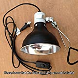 Light Holder 5.5'' 100W E27 Reptile Lamp Ceramic Heat UVA/UVB Chicken Brooder Basking Black Silver Aluminum 19*14cm Color Black