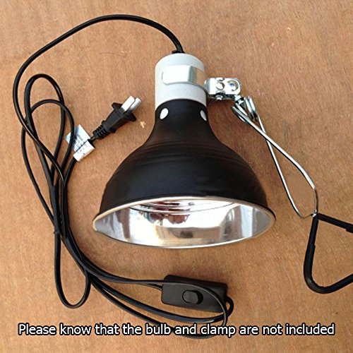 Light Holder 5.5'' 100W E27 Reptile Lamp Ceramic Heat UVA/UVB Chicken Brooder Basking Black Silver Aluminum 19*14cm Color Black by LEO_Pet supplies