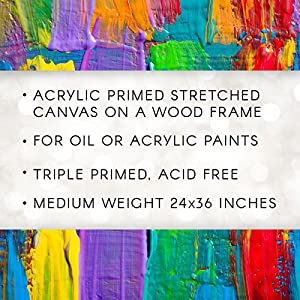 "Darice Studio 71 Medium Weight Traditional Stretched Canvas – 24"" x 36"" Canvas for Oil or Acrylic Paints, Triple Acrylic Primed Canvas on a Wood Frame"