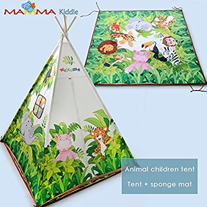 MAMMA Kiddie Kids Canvas Gaming Tent And Sponge Mat (Jungle Animals)
