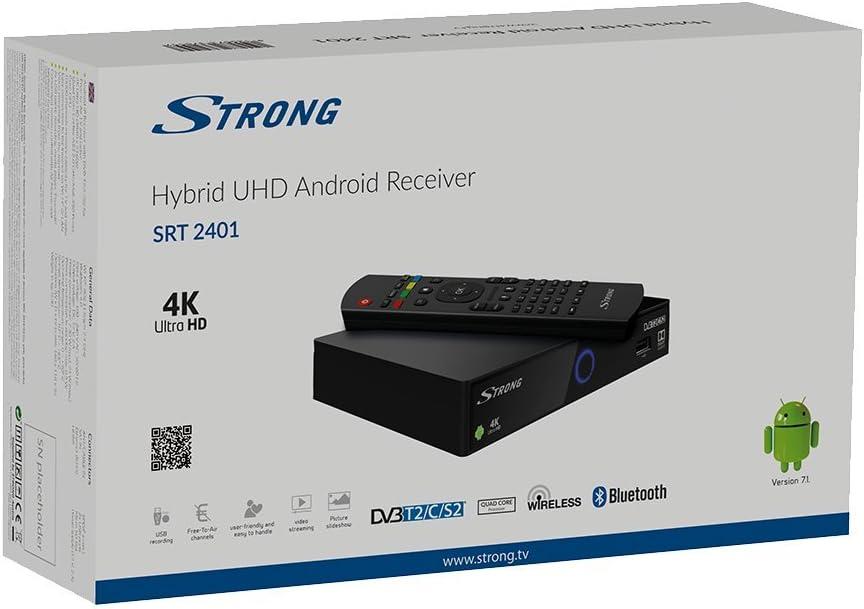 Strong SRT 2401 Receptor Android 4K UHD Híbrido【sintonizador Triple, LAN, WiFi, Tarjeta Micro SD, HDMI, USB】 Negro: Amazon.es: Electrónica
