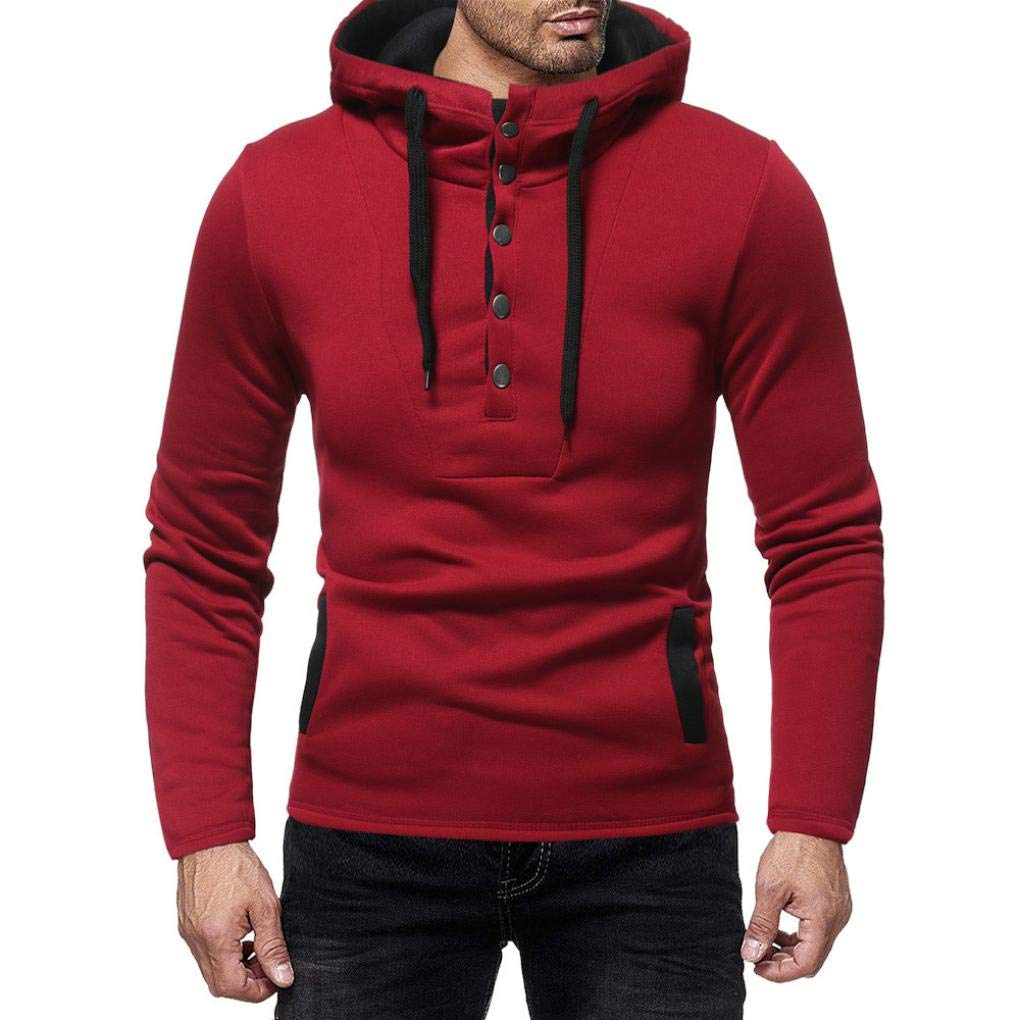 Clearance☀☀Men Coat, NEARTIME 2018 New Casual Button Sweatshirt Mens Long Sleeve Blouse Autumn and Winter Tops Big Promotion!