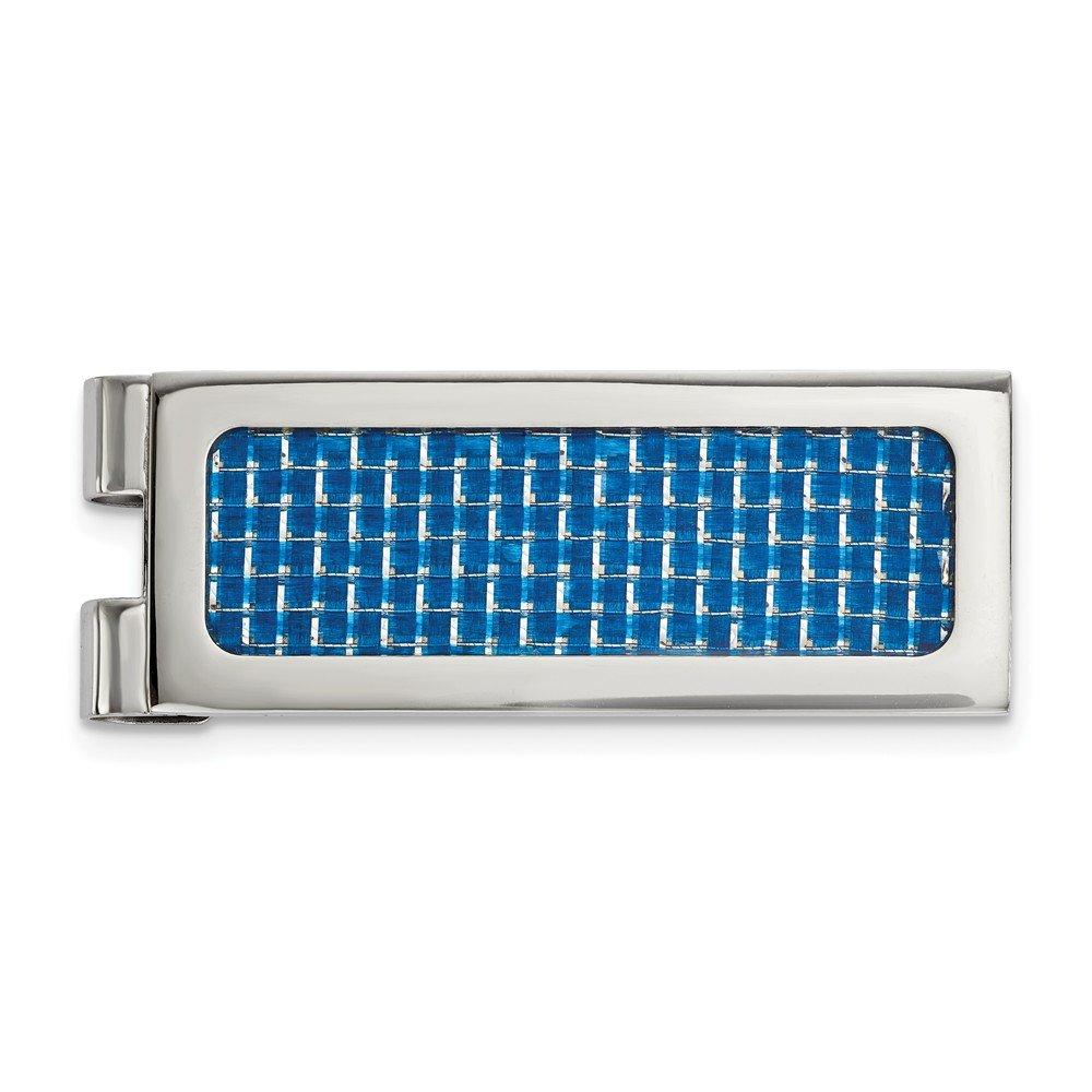 FB Jewels Solid Stainless Steel Polished Blue Carbon Fiber Inlay Money Clip