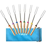 Yakura 8 Piece Marshmallow Roasting Sticks, Telescoping Smore Skewers For Bbq Hot Dog Fork Patio Fire Pit Camping