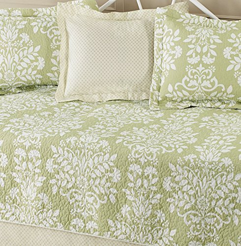 Laura ashley 5 piece cotton daybed quilt twin set green - Laura ashley online ...