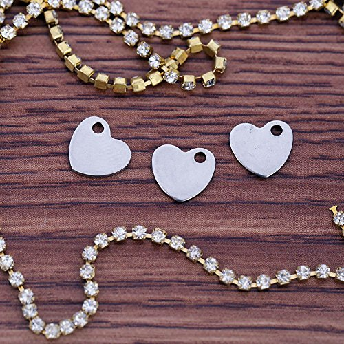 Silver Small Stainless Pendants Charms Blank Anysell Heart 50pcs Steel Tags 10mm ptqwxEXO