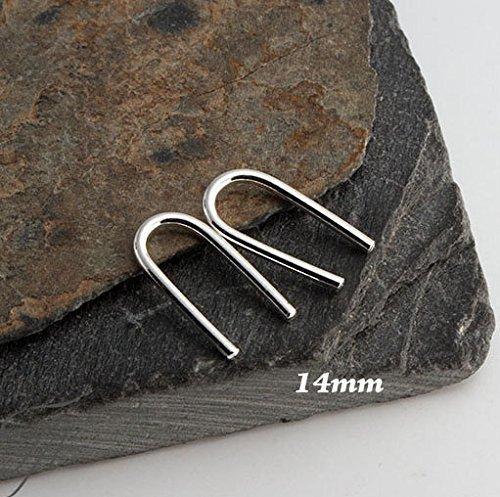 Sterling Silver Ear Hook Earring Open Hoop Hug Line Arc Earrings 14 x 1mm 18g by Fashion Art Jewelry
