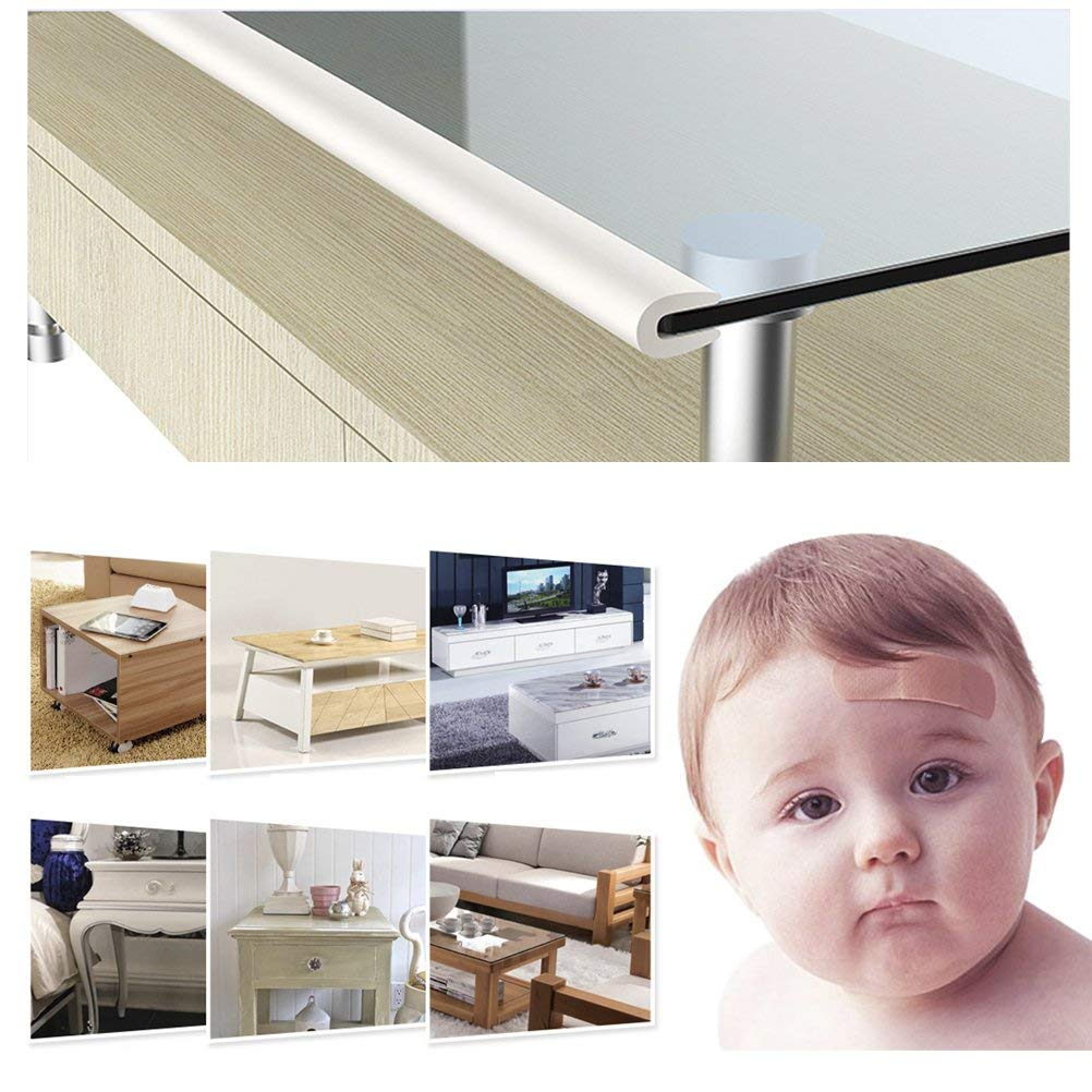 2 M Foam Safety Strip and 4 Corner Cushion Protector Set Black Edge Corner Guards for Baby VLCOO Edge Protectors