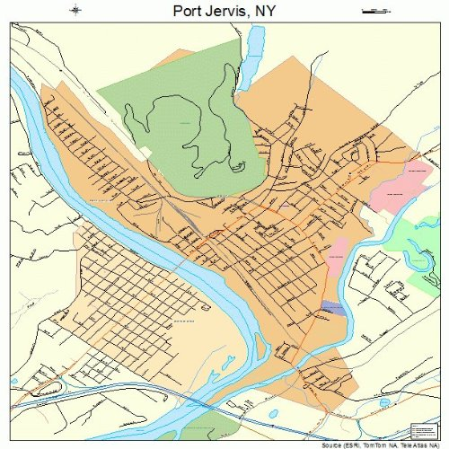 Large Street & Road Map of Port Jervis, New York NY - Printed poster size wall atlas of your home town (Street Wall Map Port)