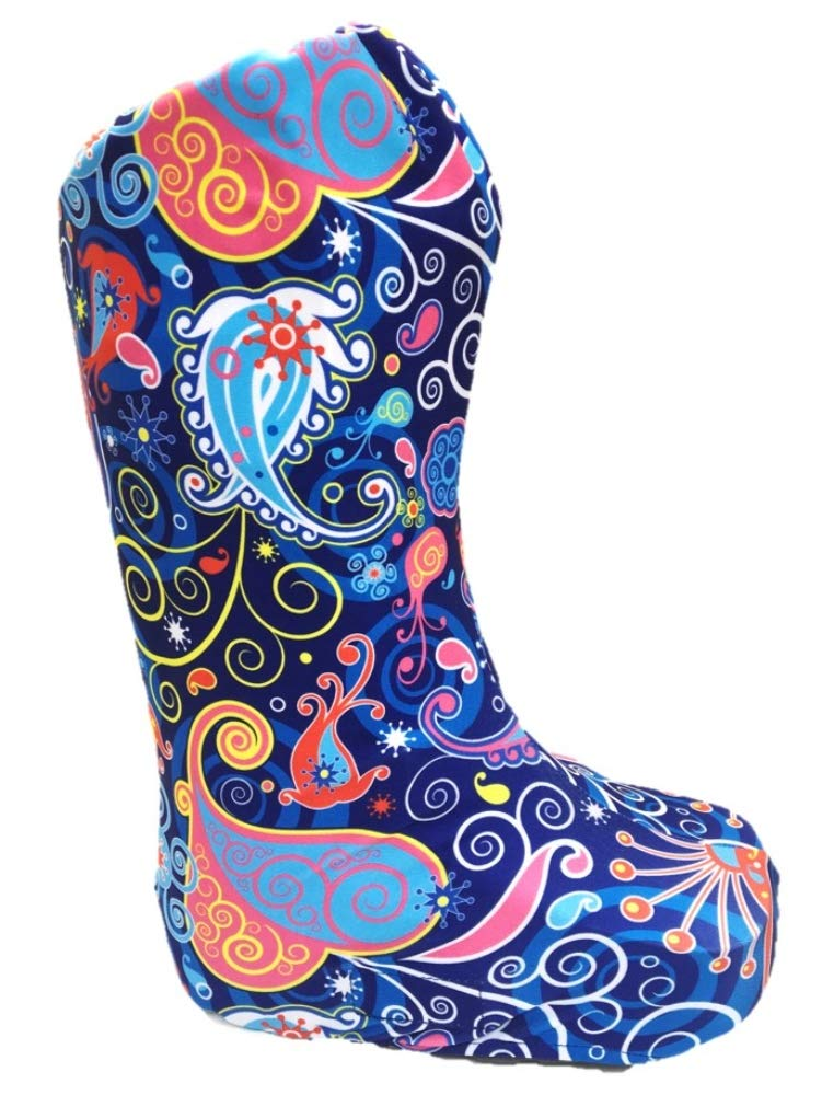 My Recovers Walking Boot Cover for Fracture Boot, Fashion Cover in Bright Blue Paisley, Tall Boot, Made in USA, Medical Fashion (MD) by My Recovers