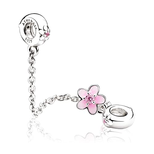 REAL 925 Silver Sterling PINK WONDERFUL LOVE CHARM Fits European Brand bracelet