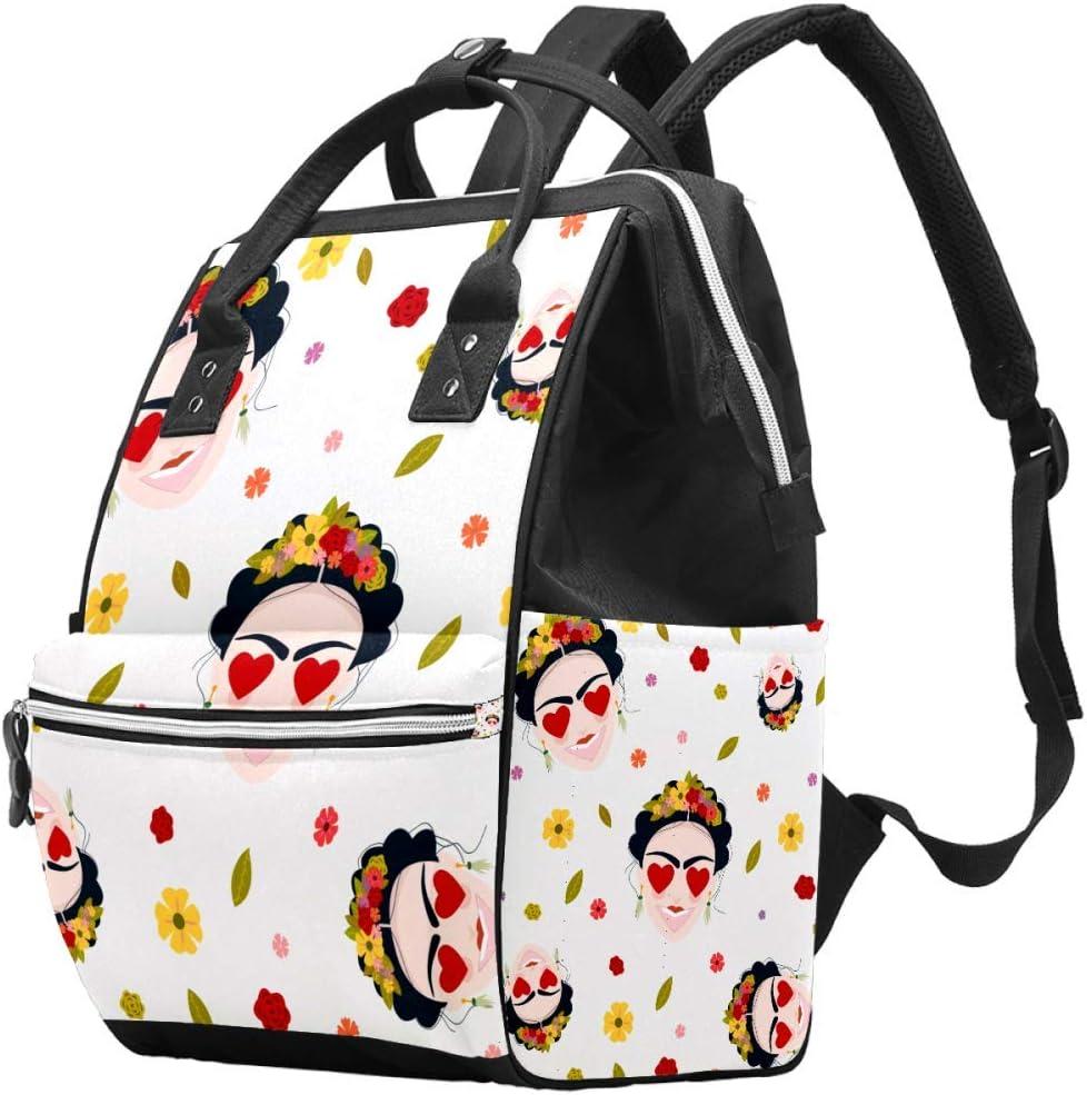 Emoji Baby Frida Kahlo - Pendientes para Mujer Mexicana, diseño de Calaveras con Corona de Flores, Bolsa de pañales de Gran Capacidad, Bolso de Mano de Lona para el Cuidado del bebé