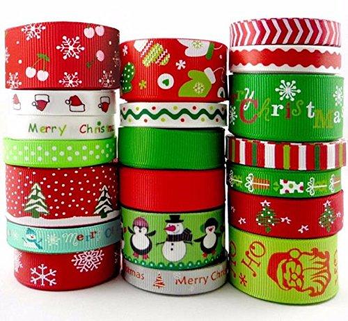 Homespun Ribbon Lot 20 Styles 3/8 Inch 1 Inch Red Green Christmas 20Yards Assorted Grosgrain Cartoon Theme Craft Bow Ribbon Celebration