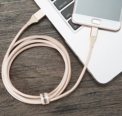 AmazonBasics Double Braided Nylon USB 20 A to Micro B Charger Cable  6 Feet Gold