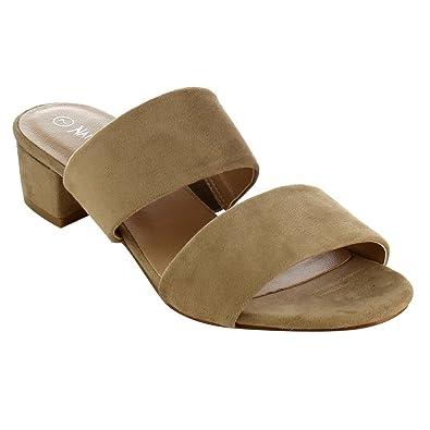 Women Faux Suede Low Heel Sandal - Double Band Slide - Block Heel Sandal - GH65 by