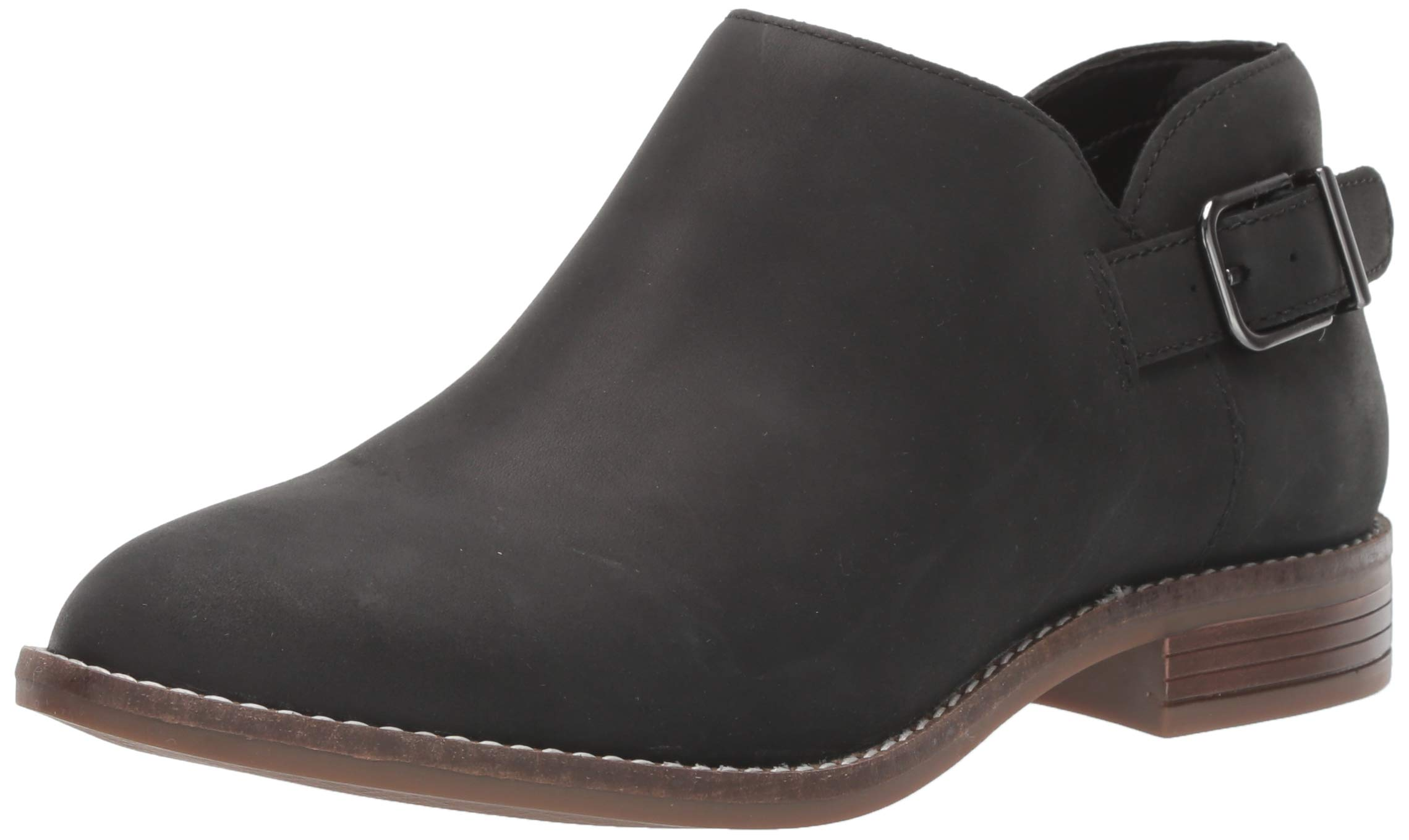 CLARKS Women's Camzin Pull Ankle Boot, Black Leather, 120 M US by CLARKS