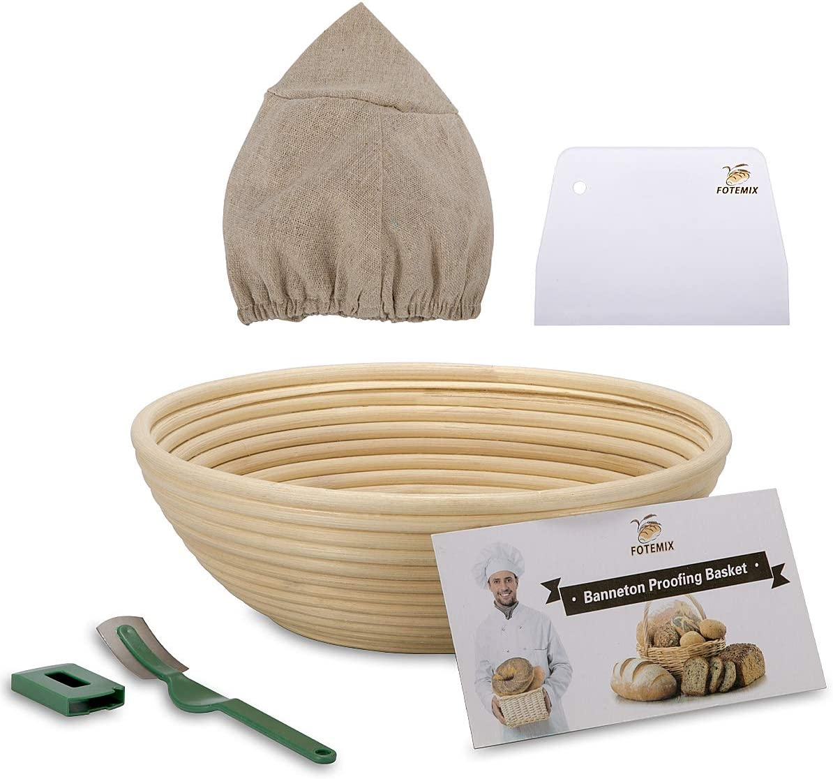 Sucastle 5-12 Inch Round Banneton Proofing Basket Includes Linen Liner Dough Scraper Bread Lame Size : 5INCH Rising Dough Baking Bowl Gifts For Professional /& Home Bakers