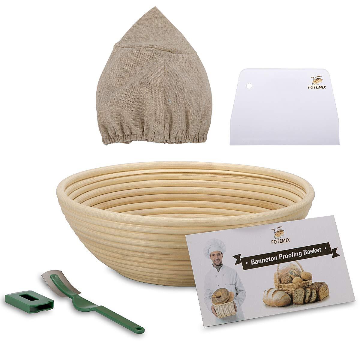 10 Inch Bread Proofing Basket - Banneton Proofing Basket + Cloth Liner + Dough Scraper + Bread Lame + Starter Recipe Set - Sourdough Basket Set For Professional and Home Bakers Artisan Bread Making