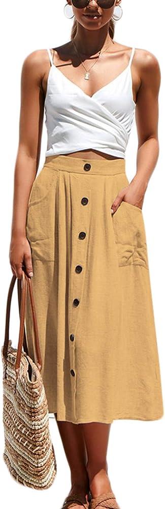 Falda De Algodón De Verano Casual De Cintura Alta Botón Línea Faldas Midi De Mujer Amarillo S: Amazon.es: Ropa y accesorios