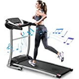 Merax Electric Folding Treadmill Motorized Running and Jogging Machine with Speakers for Home Use, 12 Preset Work Out Program