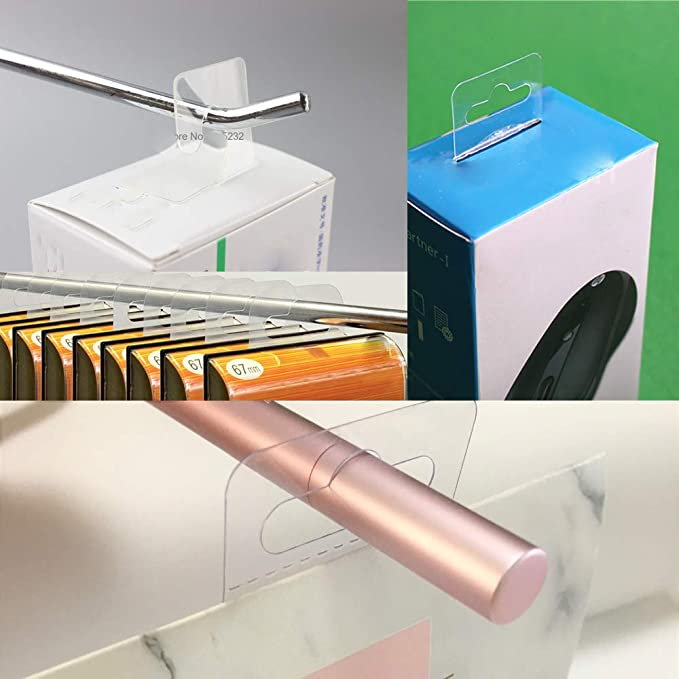 Amazon.com: 120Pcs Self Adhesive Plastic Hang Clear Tabs ...