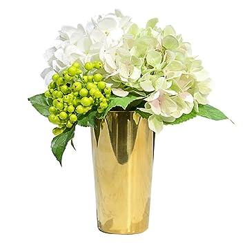 Licxcx Flores Artificiales Conjunto de florero de Oro de Hortensia Sen Creativo Decoración de Flor Creativa