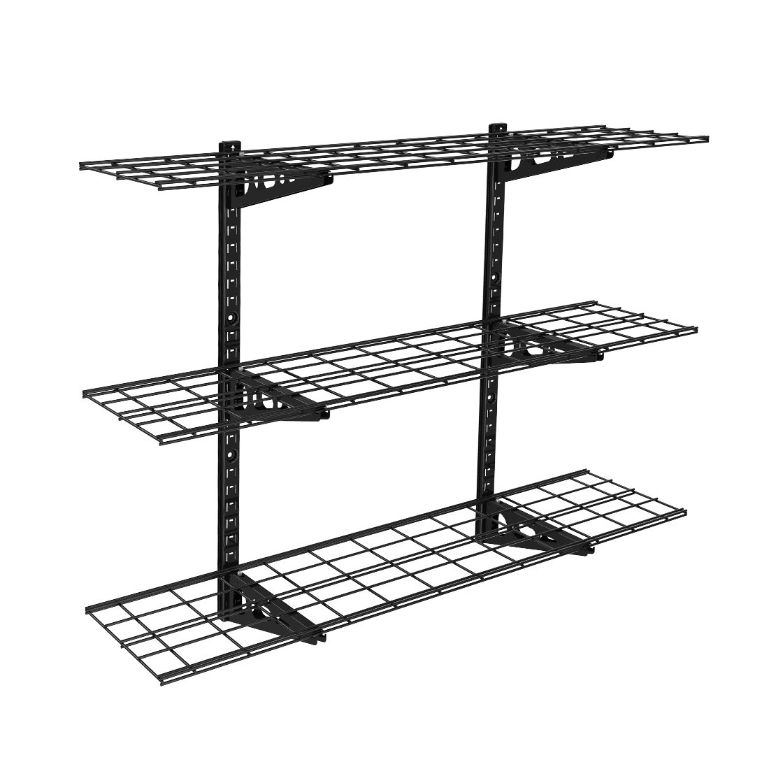 Fleximounts 3-Tier Storage Wall Shelves 1x4ft 12-inch-by-48-inch per shelf Height adjustable Floating Shelves (Black) by FLEXIMOUNTS
