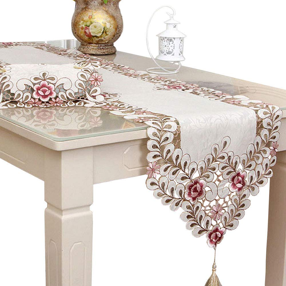 LeLehome Classic Flowers Embroidered Lace Short Satin Floral Washable Fabric Table Runner Table Top Decoration Tapestry - Dark Rose (15 inch x 114 inch)