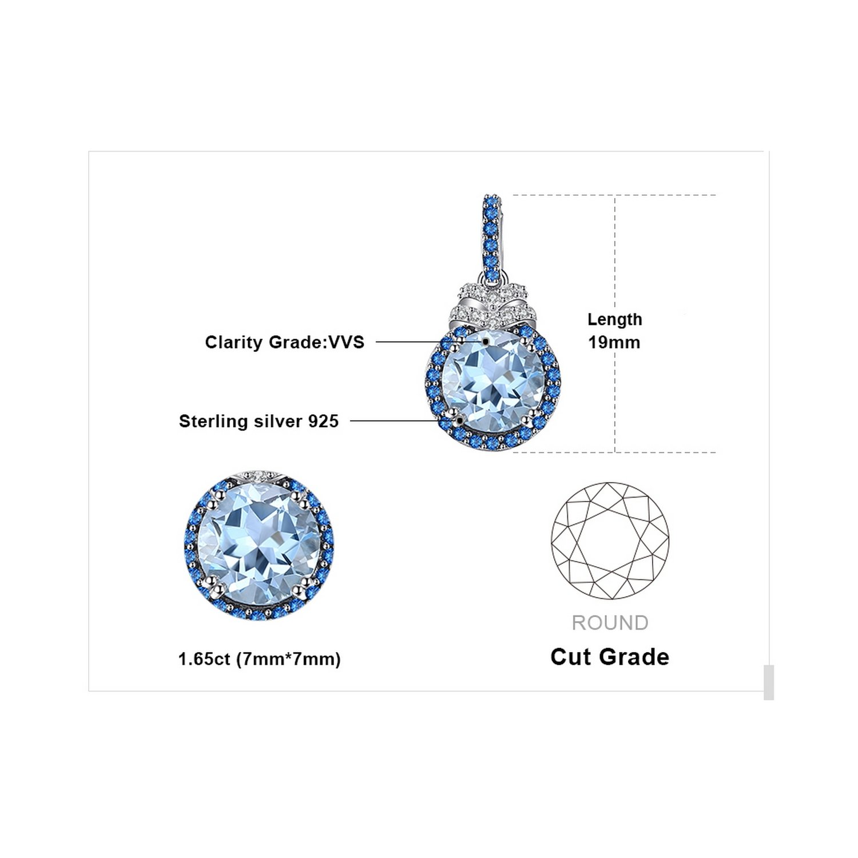 CS-DB Pendants 1.8ct Blue Topaz Fashion Jewelry Silver Necklaces