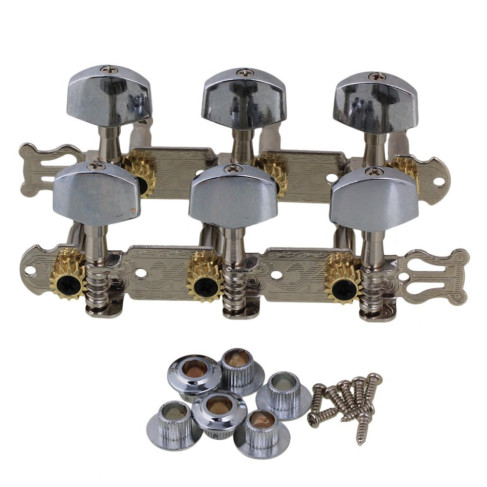Yibuy Silver Zinc Alloy 3L+3R 6 String Acoustic Guitar Tuning Key Pegs (L&R) with Metal Square Button Pack of 2 etfshop Yibuy176