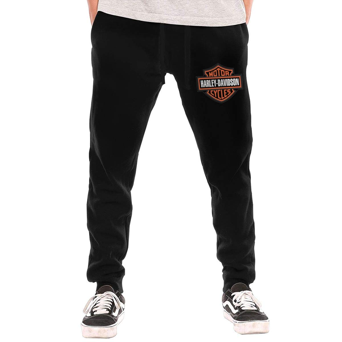 MKILOI PLIOFU Harley Davidson Athletic Men's Open Bottom Light Weight Active Basic Urban Jersey Pants Jogger Pants Black