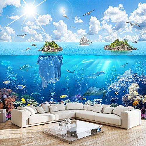 Mznmcustom 3D Photo Wall Paper Underwater World Island Landscape Mural Living Room Bedroom Tv Background Decoration 3D Wall Painting-120X100Cm ()