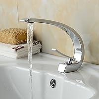 BONADE® beau design chrome robinet mitigeur lavabo salle de bain lavabo monocommande à cascade pour salle de bain (eau froide et chaude) Canne haute vanité évier robinet salle de bain bidet