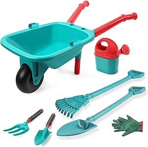 NATSUKAWA 2021 Upgraded Kids Gardening Tool Set,Garden Toys with Wheelbarrow,Watering Can,Gardening Gloves,Hand Rake,Shovel,Trowel,Double Hoe,Outdoor Indoor Toys Gift for Kids Toddler Boys Girls…