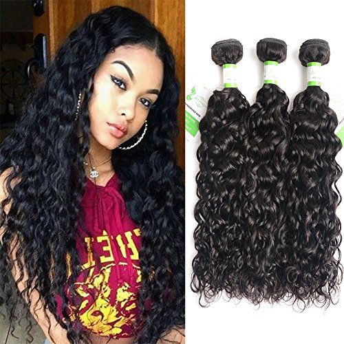 Brazilian Hair 8A Grade Water Wave 3 Bundles Of 100% Unprocessed Human Hair Weave Weft Natural Black (16 18 20)