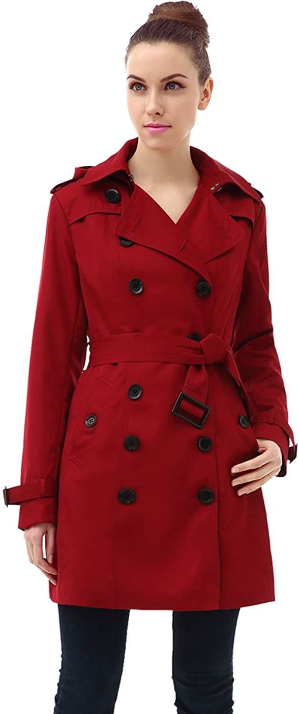 BGSD Women's Leah Waterproof Hooded Mid Length Trench Coat: Clothing