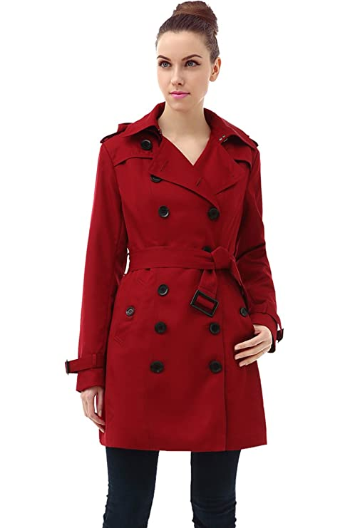 BGSD Women's Leah Hooded Mid Length Trench Coat - Red XS best women's raincoats