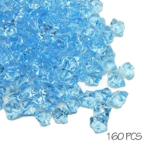 Gemstone Cube (❤️ 155 Pcs Decorative Acrylic Ice Rock for Table Scatters, Fake Ice Cubes Gems Gemstones Vase Fillers(Light Skyblue))