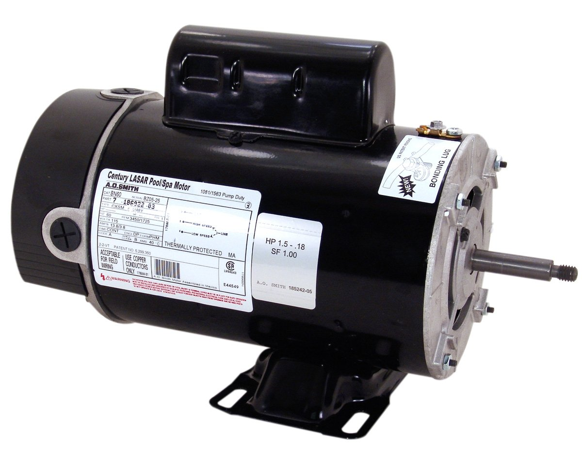 A.O. Smith BN61 2 HP-1/4 HP, 3450/1725 RPM, 2 Speed, 230 Volts, 48Y Frame, PSC, ODP Enclosure, Rigid Base Pool Motor by A. O. Smith B007ATO1IG