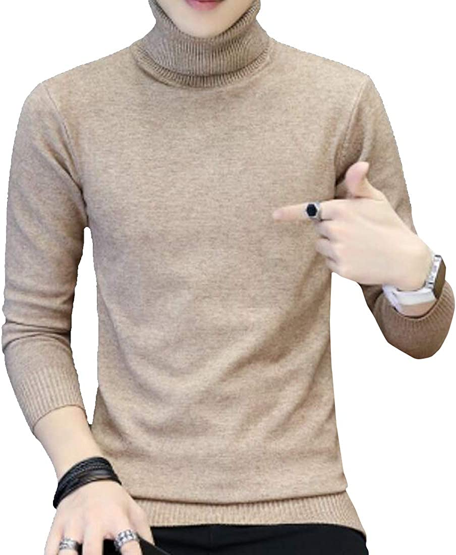Teapolity Men Long Sleeve Knitted Slim Fit Winter Vogue High Collar Solid Color Warm Pullover Sweater