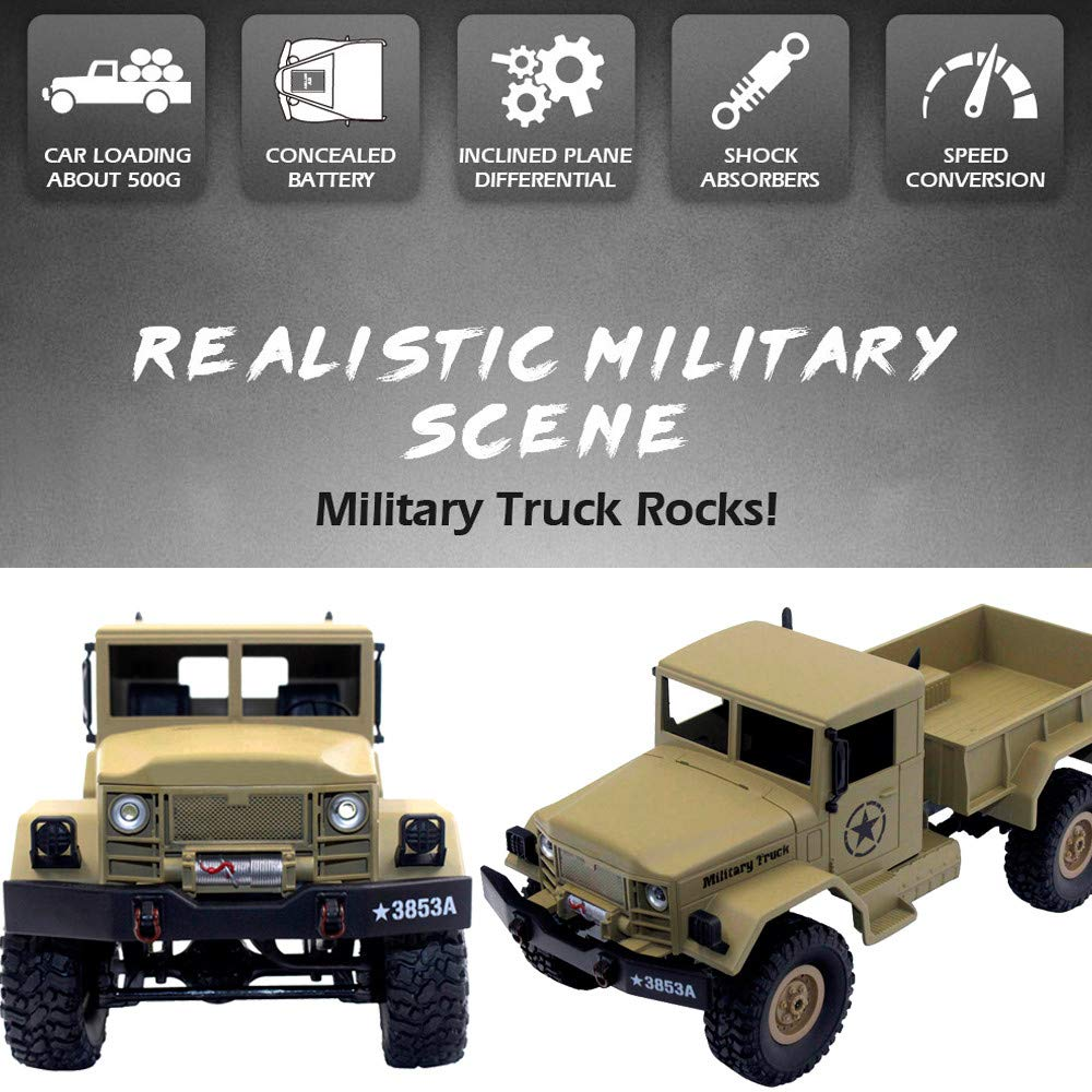 Choosebuy 1:16 Military Off-Road Remote Control Truck, Cool 6WD Powerful Engine Bright Spotlights RC Tracked Cars Toys with 2.4GHz Technology for Indoors/Outdoors (Desert Yellow) by Choosebuy (Image #7)
