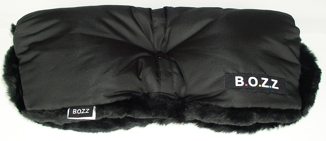 BOZZ Handmuff/Handwarmer for Pushchair - Black with Black Faux Fur (Universal)
