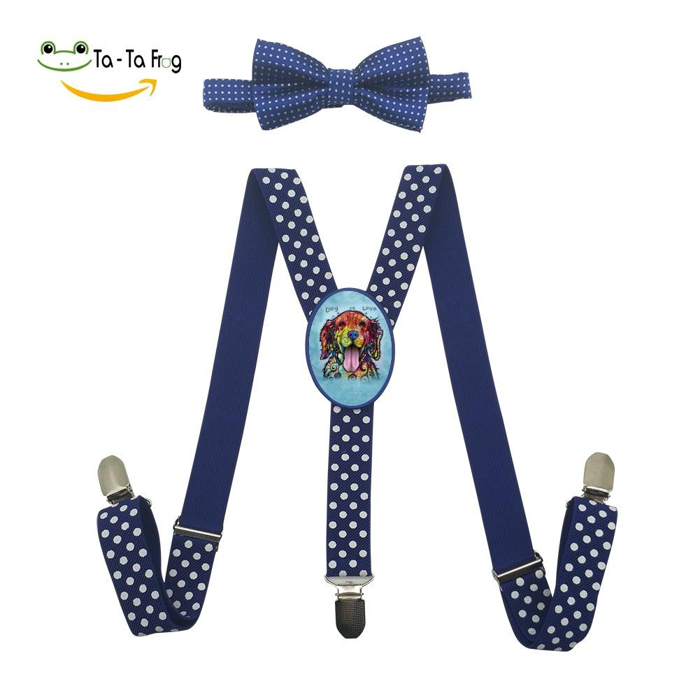 Dog is Love Unisex Suspenders And Pre-Tied Bowtie Set For children Casual And Formal blue by Jona Dlcae (Image #1)